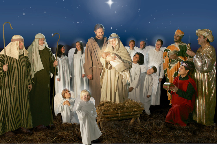 The visit of the Magi, angels and herdmen at the nativity scene.