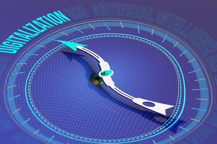 Snedvriden kompassnål pekar mot Digitalization.