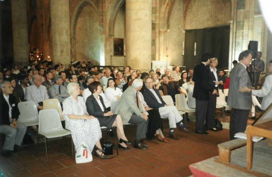 People sitting in the cathedral in Toulouse waiting for the award ceremony 1999