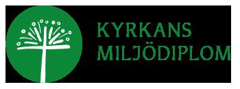 Logo med en stiliserad maskros i en cirkel och texten Kyrkans miljödiplom.